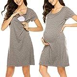 HOTOUCH Womens Maternity Dress Nursing Breastfeeding Pyjamas Nightwear Gray M