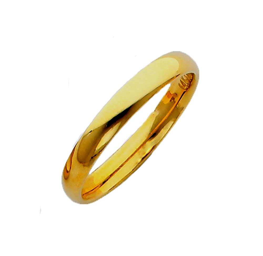 TagaDavao Collection 14K Solid Gold 3mm Plain Comfort Fit Wedding Band Wedding Ring Size 4 to 12