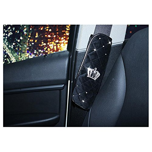 Crown Rhinestones Cover - LuckySHD 2 Pcs Plush Car Seat Belt Cover Shoulder Pad with Rhinestone Crown - Black