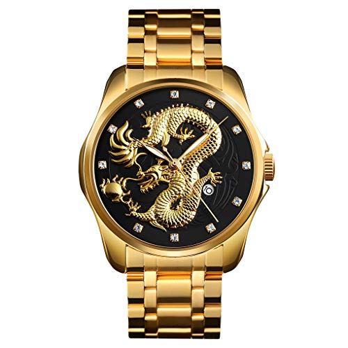Clearance! Hot Sale! ❤Golden Dragon Diamond Calendar Waterproof Men's Steel Belt Quartz Watch for Father Men Student Youth Teens Boyfriend Lover's Birthday Anniversary Gift Under 15 Dollars