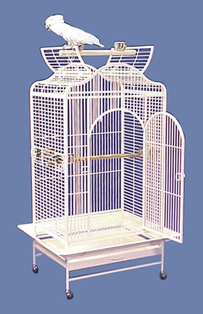 "Poipu Palace Convertible Top Bird Cage - 32 X 24"" X 61"" - Eggshell Vein by BirdCages4Less"