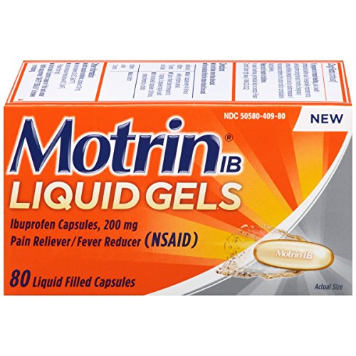 Pain Liquid - Motrin IB Liquid Gels, Ibuprofen, Aches and Pain Relief, 80 Count