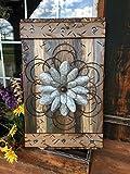 FLOWER MED GREEN Combo Reclaimed Wall Distressed Wood Pallet Shutter Sign Beautiful Metal Art (Metal Flower Style Varies)