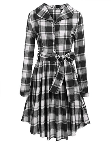 ACEVOG-Women-Turn-Down-Collar-Long-Sleeve-Half-Button-Plaid-Slim-Pleated-Shirt-Dress-Belt
