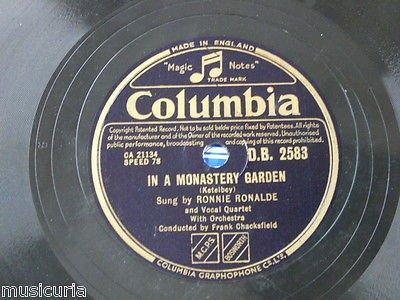 78rpm RONNIE RONALDE in a monastery garden / bells across the meadow ()