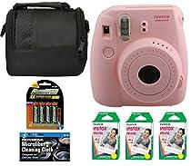 Fujifilm Instax Mini 8 Instant Film Camera (Pink) + 6 Pack Fuji Instax Mini Film (60 Prints) + 4 AA Rechargeable Batteries + Bag + Microfiber Cleaning Cloth