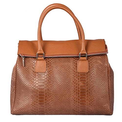 Python Color Italy In Handbag Printed Tuscan Genuine Bag Tan Made Leather Woman T4Hqn