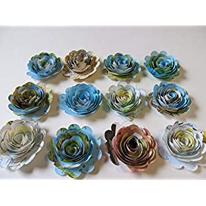 12 Piece Scalloped World Atlas Roses, Paper Flowers Set, Travel Theme, Floral Table Decor 1.5 Inch Rosettes