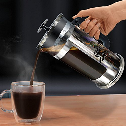 Ultimate Kitchen French Press Coffee Maker, 1 Liter (4 cups), Chrome Finished Stainless Steel, Loose Leaf Tea and Espresso Maker (Body French Press Parts compare prices)