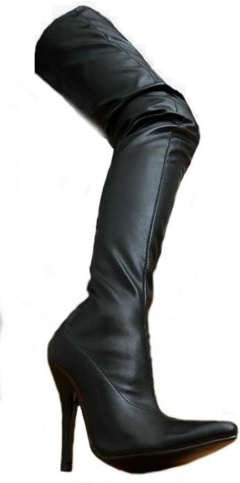 EROGANCE Leder Optik High Heels Crotch Overknee Stiefel