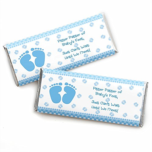 Baby Feet Blue - Candy Bar Wrappers Baby Shower Favors - Set of -