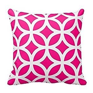 """Home Decorative Geometric Pattern Pillow In Hot Pink Throw Pillow Cover Cushion Case 18"""""""