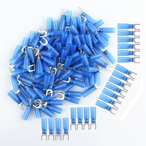 Terminal Spade 2 (HOODDEAL 100PCS Male Fork Spade Insulated Heat Shrink Butt Wire Nylon Quick Connectors Electrical Crimp Terminal (Wire 1.5-2.5mm², Screw M5, AWG 16-14), Blue)