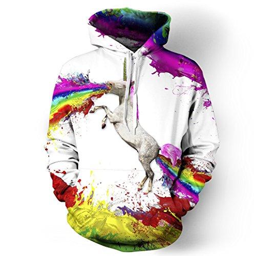 NEWCOSPLAY Unisex Athletic Hooded Sweatshirts 3D Digital Printed Hoodies Colorful Galaxy Pattern Big Pocket Sweaters (S/M, Rainbow Unicorn)
