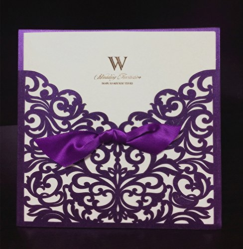 """Graces Dawn 100pcs Laser-cut Lace Flower Pattern Wedding Invitations Cards(set of 100pcs) and Blank Cards and Envelopes 6 x 6"""" - Value Pack (Purple)"""