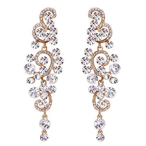 Drop Crystal Earrings Floral (BriLove Gold-Toned Dangle Earrings for Women Wedding Bridal Bohemian Boho Crystal Floral Chandelier Hollow Earrings Clear)