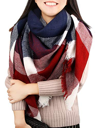 Women Blanket Scarf Winter Warm Tartan Plaid Shawl Wrap Large Check Square Scarves for Men