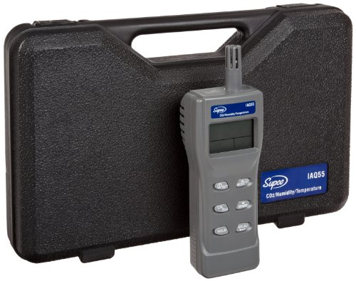 Iaq Meter - Supco IAQ55 Handheld Indoor Air Quality Monitor, 0 to 2000 ppm, 1 ppm Resolution, +/-75 ppm Accuracy