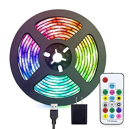 LED strip Lights USB Powered, abtong Rainbow Color LED Lights Strip LED TV Backlight Strip with RF Remote Color Changing Accent Light Set Waterproof Bias Lighting-2M/6.54FT]()