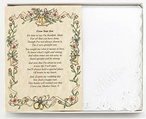 Wedding Handkerchief Poetry Hankie (for Groom's Mother) White, Lace Embroidered Bridal Keepsake, Beautiful Poem | Long-Lasting Memento for The Groom's Mother | Includes Gift Storage Box ()