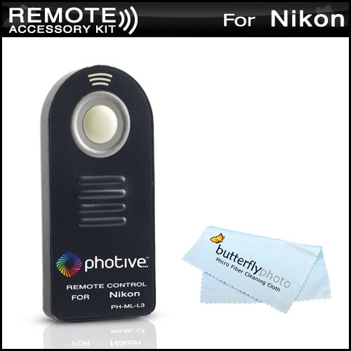 Photive ML-L3 Wireless Remote Control For Nikon D5100, D5000,D3000,D7000, D90, D80, D70S, D70, D60, D50, D40X, D40, P7000, P7100, Nikon 1 J1, Nikon 1 V1, Nikon 1 J2 Digital SLR Cameras (Replaces Nikon ML-L3) + MicroFiber Cleaning Cloth