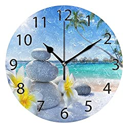 ABLINK Tropical Flower and Zen Stone Round Acrylic Wall Clock, Silent Non Ticking Oil Painting Home Office School Decorative Clock Art