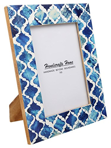 Picture Photo Frame Moorish Damask Moroccan Arts Inspired Handmade Naturals Bone Frames Photo Size 5X7 Inches Blue White - Handmade Moorish Art Inspired Bone Inlay, Resin and Pine MDF wood frames to display 4x6 inch and 5x7 inch photos of your friends, family and vacations. Border width is 1.5 inch and backing with Ultra Transparent Plexiglass, Pine wood MDF with Tie and metallic clips, corners and flexi pins to support the back and Saw-tooth hooks for wall hanging. Compliment your home decor, children nursery, gallery wall and beautify any home interior. Suitable for Wall Hanging and Tabletop display with both landscape and portrait positions. - picture-frames, bedroom-decor, bedroom - 51FiwKoFmCL -