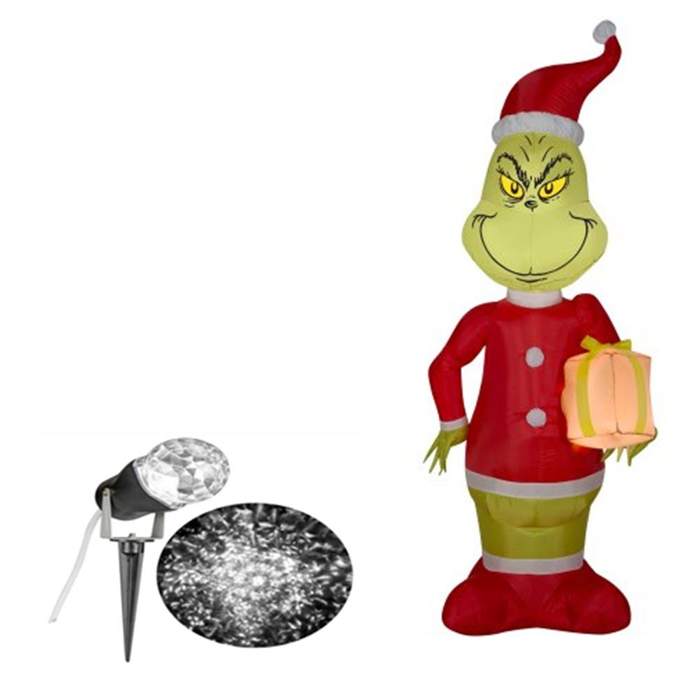 Amazon.com : Inflatable Airblown The Grinch Holding Gift 5.5\' \' Tall ...