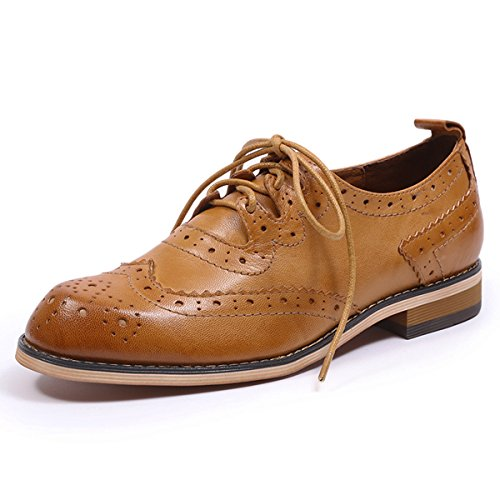 Perforated Mona For Women's Brougue Brown Lace Flying Leather Shoes Wingtip Oxfords Women up Multicolor tqtnr4Zx8
