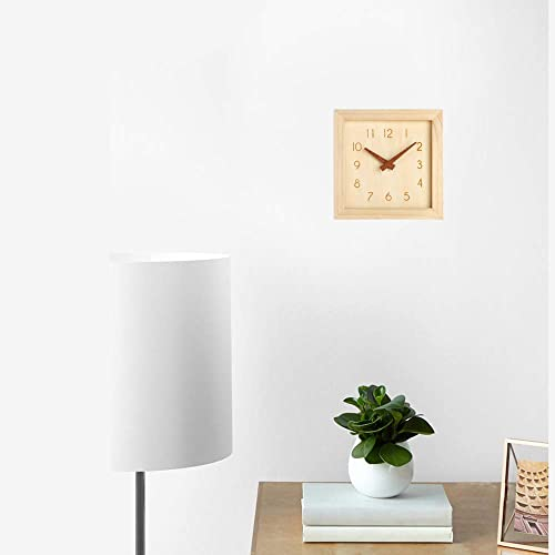JUSTUP Silent Wall Clock, 8 in Non-Ticking Wood Wall Clock Battery Operated with Sweep Quartz Movement Square Decorative for Kitchen Bedroom Living Room Kids Room Arabic