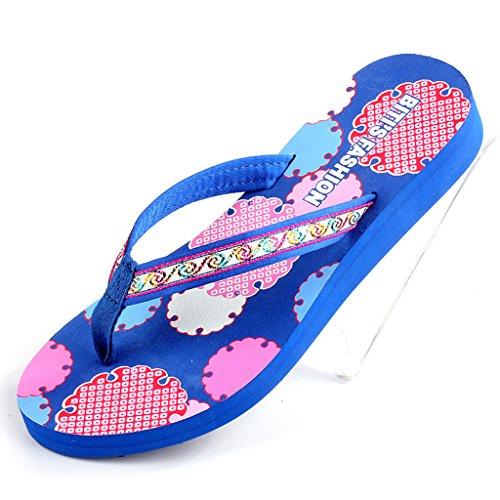 Color chicas Zapatos Zapatillas CN36 UK4 Tela Zapatillas Azul Azul Sandalias Tamaño Toe verano Verano Clip Mujer EU36 XW Planos mujeres de Superior 6PqxARZn