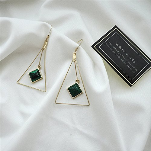 usongs Retro turquoise earrings exaggerated large ()