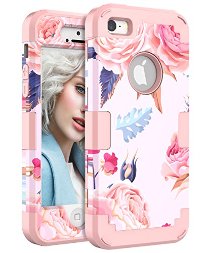 iPhone 5 Case, iPhone 5S Case, iPhone SE Case, Lokass Shockproof Scratch-Resistant Impact Protection Anti-Finger Print Plastic+TPU Case for iPhone 5/5S/SE for Women/Girls, Flowers Rose Gold