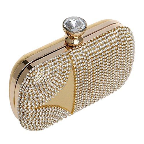 Noche Bolso Para Cuadrado grow Boda 1 Gold Mujer Suave De Imitación Diamantes Banquete Sky Vestido Damas color Del Embrague w07EIFfxq