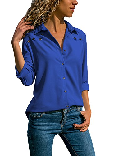 Stretch V-neck Blouse - Womens Long Roll 3/4 Sleeve Button Down Shirts V Neck Solid Color with Stretch Tops Blouses Dark Blue XXL