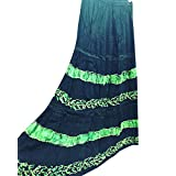 Womans Maxi Skirt Ethnic Black Embroidered Rayon Boho Gypsy Skirts