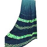 Womans Maxi Skirt Ethnic Black Embroidered Rayon Boho Gypsy Skirts