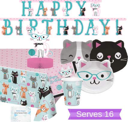Aloha Sugar Cat Party Supplies and Decorations - Kitty Cat Plates Cups Napkins for 16 People - Includes Banner, Tablecloth and Centerpiece - Perfect Cat Birthday Party Decorations! by Aloha Sugar