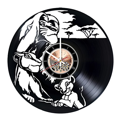 choma The Lion King Timon and Pumbaa Vinyl Record Wall Clock - Nursery Room or Bedroom wall decor - Gift ideas for teens, kids - Cartoon Unique Art Design