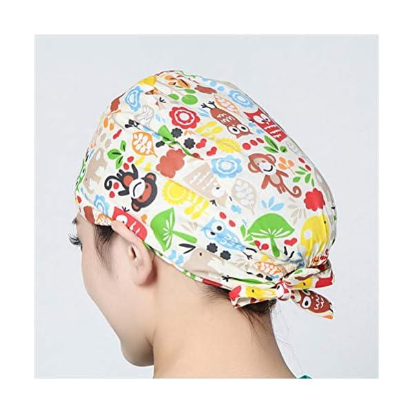 TENDYCOCO 1 Unid Algodón Mono Búho Correa Impresa Sombrero de Trabajo Quirófano Gorro Médico Gorro de Enfermera Sombrero… 8