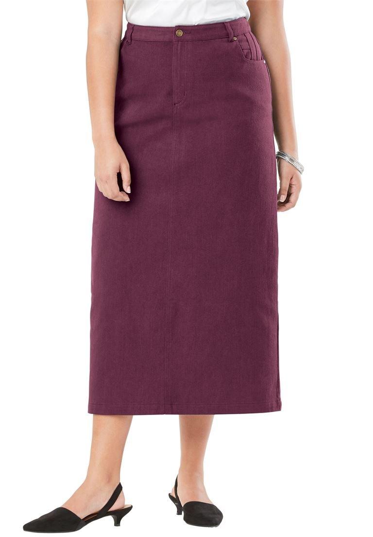 Jessica London Women's Plus Size Classic Cotton Denim Long Skirt Deep Merlot,14