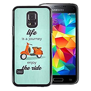 A-type Arte & diseño plástico duro Fundas Cover Cubre Hard Case Cover para Samsung Galaxy S5 Mini (Not S5), SM-G800 (Poster Life Is A Journey Scooter Travel)