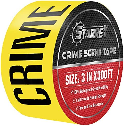 Starrey Crime Scene Do Not Cross Barricade Tape Yellow 3 Inch X 300 Feeta Bold Black Print for High Visibility Tear Resistant Design