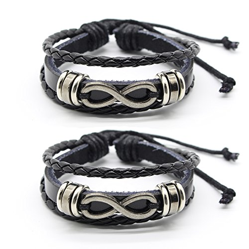 "Infinity Bracelet, Couple Friendship Wristband, Womens Mens Leather Bracelet 7"" to 8"" Black"