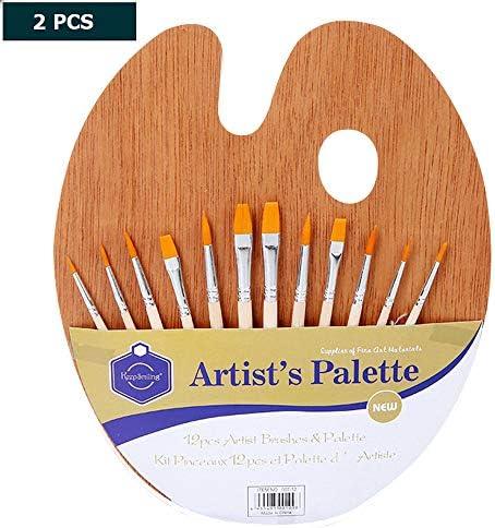 アクリルペイントブラシセット、 SZRP 2本のペイントブラシセット、 パレット付き多機能ナイロンヘアブラシセット、 水彩画、アクリル画、油絵、ボディペインティングで一般的に使用されます