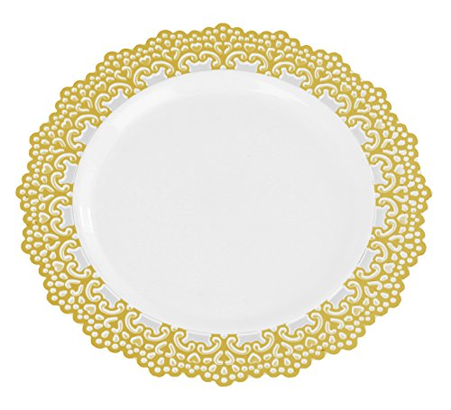 "Premium Decorative Plastic Dinnerware Plates - 10"" Inch Round Dinner Plate - 12 Count - Gold Rimmed"