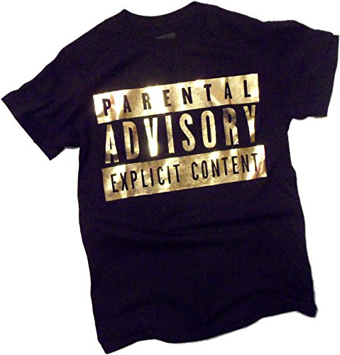 Advisory Mens T-shirt - Explicit Content Warning Label - Gold Foil -- Parental Advisory T-Shirt, Medium