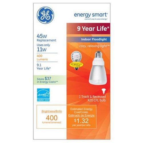 GE Lighting 80892 Energy Smart CFL 11-Watt (45-watt replacement) 400-Lumen R20 Floodlight Bulb with Medium Base, (11w R20 Compact)