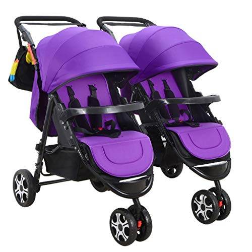 Double Stroller, Twin Tandem Baby Stroller, 5 Points Safety Belts, Foldable Design for Easy Transportation (Color : Purple)