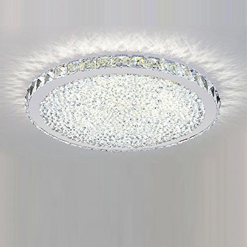 LightInTheBox LED Flush Mount Ceiling Light Circular Crystal Absorb Dome Contemporary and Contracted Design Crystal Lamp (Cold White)